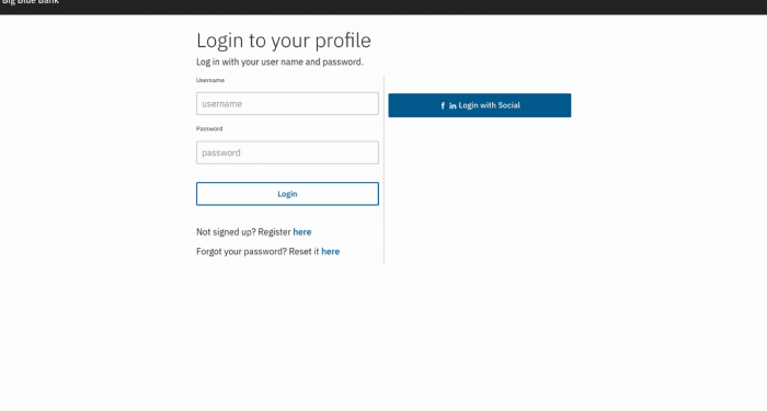 Screen shot of profile login screen